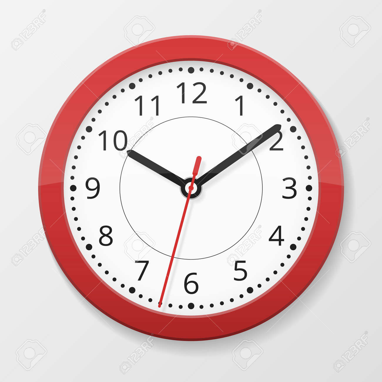 Round wall quartz clock in red color isolated on white background with seconds arrow, vector illustration - 167187318