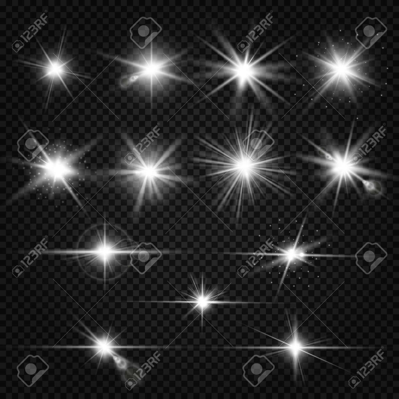 Twinkle lens flares, glare lighting vector effects. Collection of white star energy on on transparent background illustration - 167139207