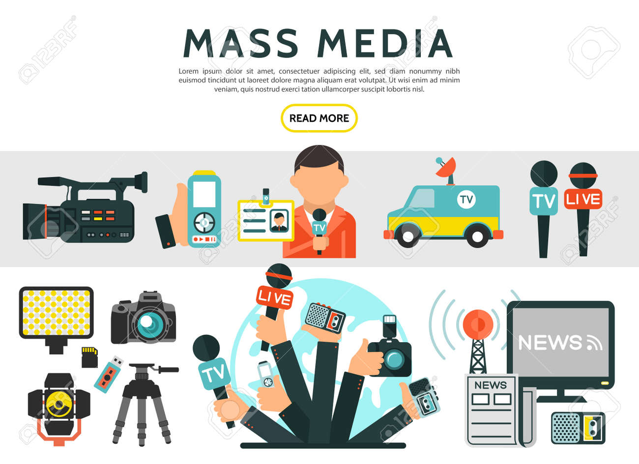 Flat mass media elements set with reporter photo video cameras news car microphones television radio tower dictaphone journalist id card newspaper isolated vector illustration - 167242353