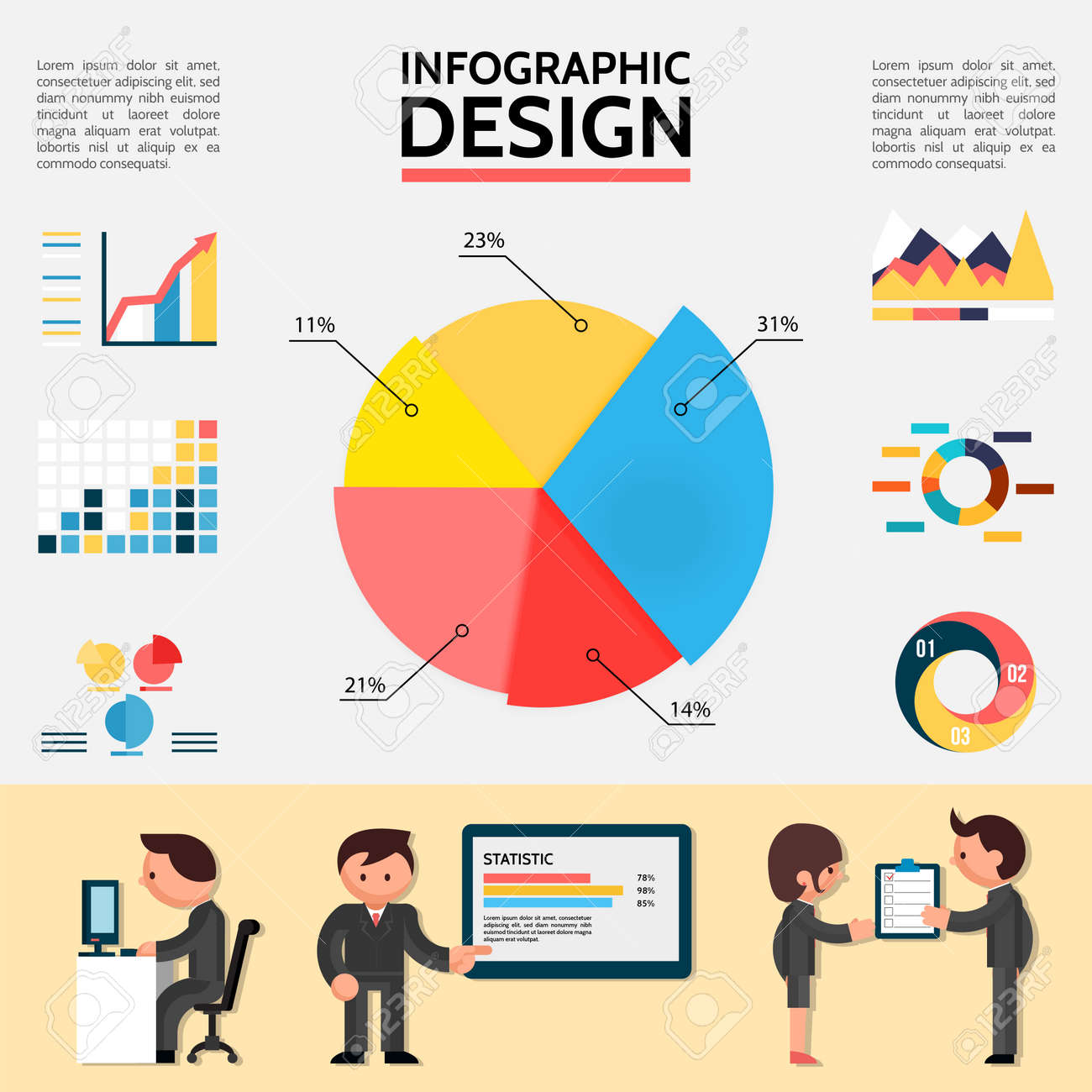 Flat abstract infographic template with graphs charts diagrams and business people in different situations vector illustration - 167243150