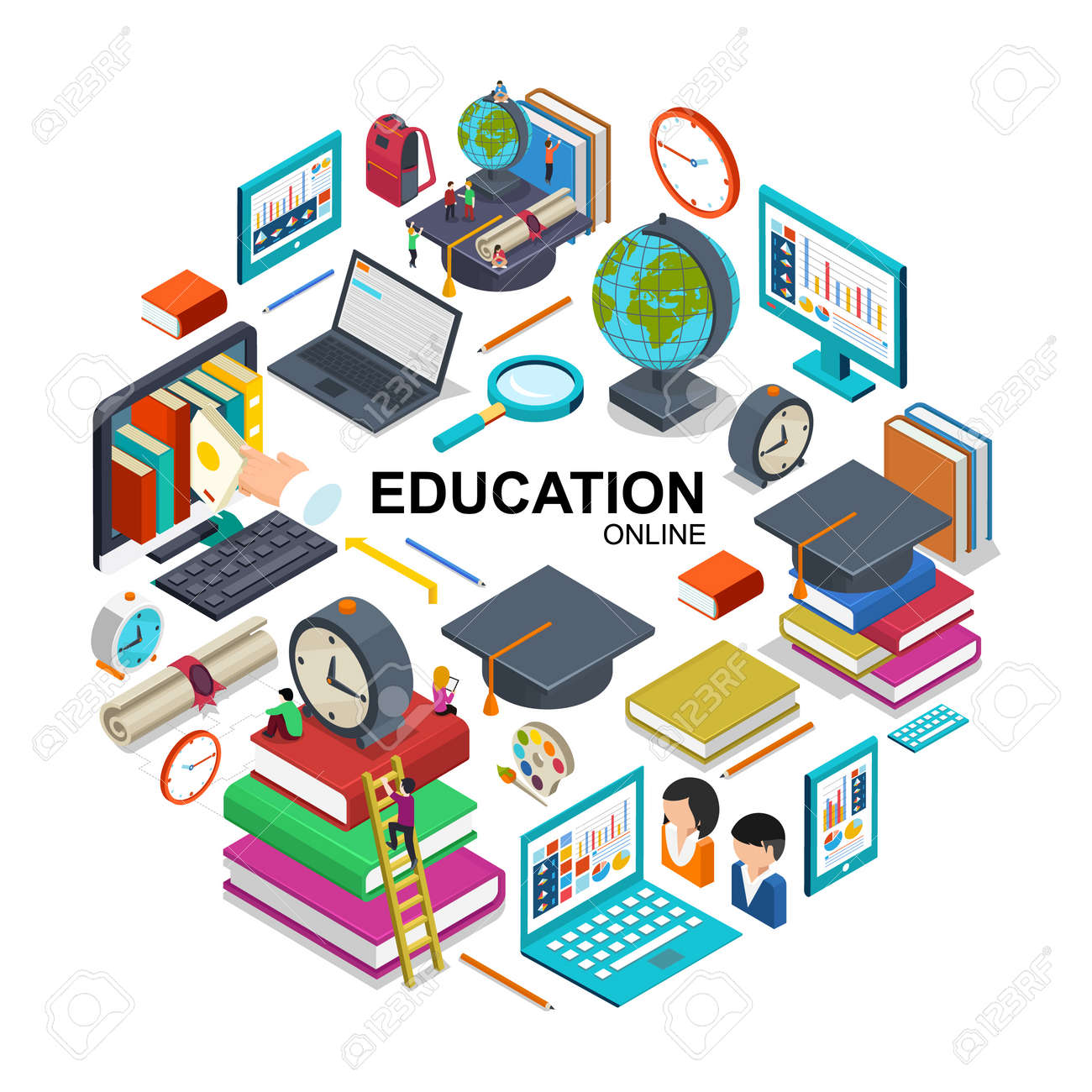 Isometric online education round concept with devices for online training graduation cap students books magnifier alarm clock backpack certificate pencil vector illustration - 167244167