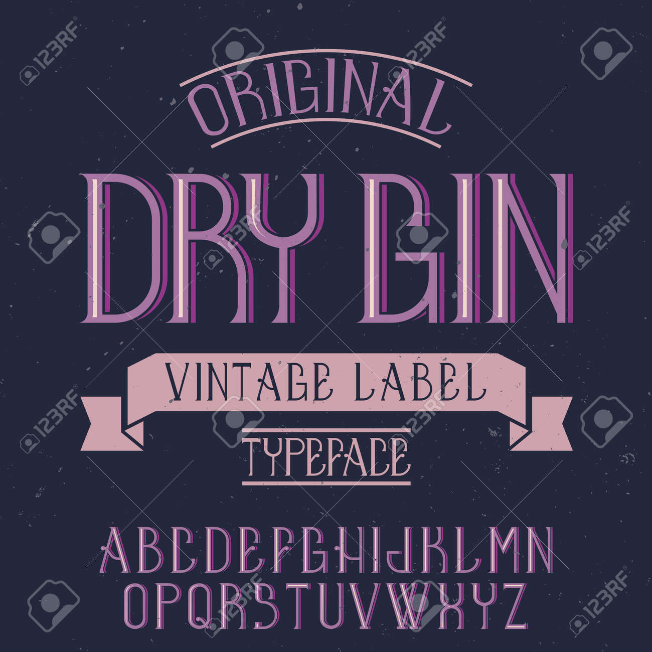 Vintage label font named Dry Gin. Good to use in any creative labels. - 168273472