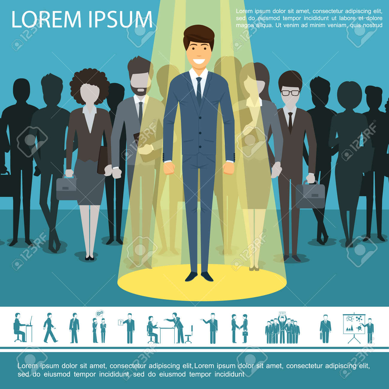 Flat business people template with group of entrepreneurs managers businesswomen and businessman icons vector illustration - 168389546