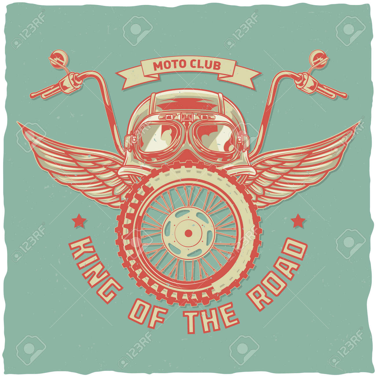 Motorcycle theme t-shirt label design with illustration of helmet, glasses, wheel and wings - 168399210