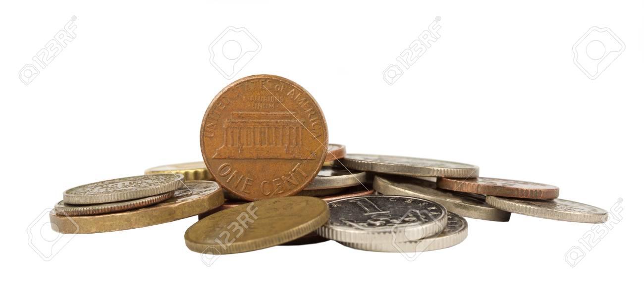 Ein Cent Amerikanischen Isoliert Auf Anderen Münzen Prägen
