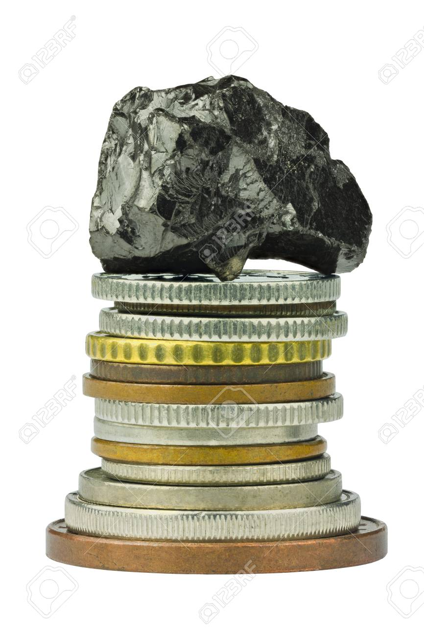 Coin stack with coal on top - 18836977