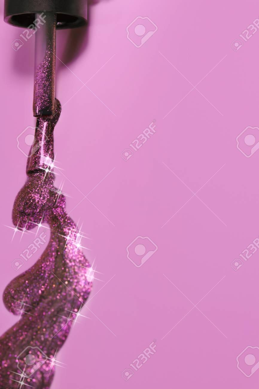 Sparkles Nails Polish Isolated On Soft Pink Background.Stylish ...