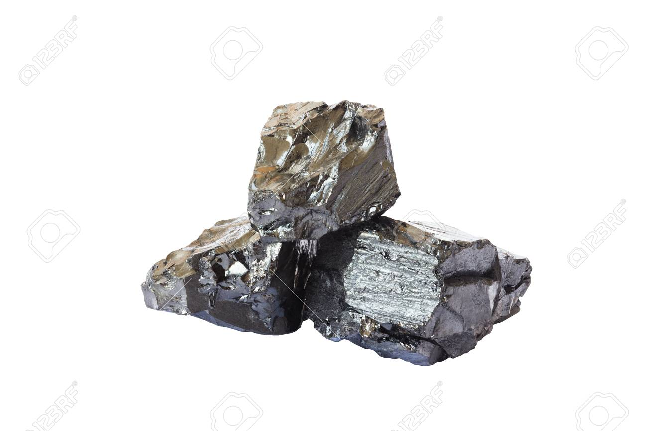 Natural black coal bars isolated on white background. Industrial coal nuggets close up cut out on white background - 110302560