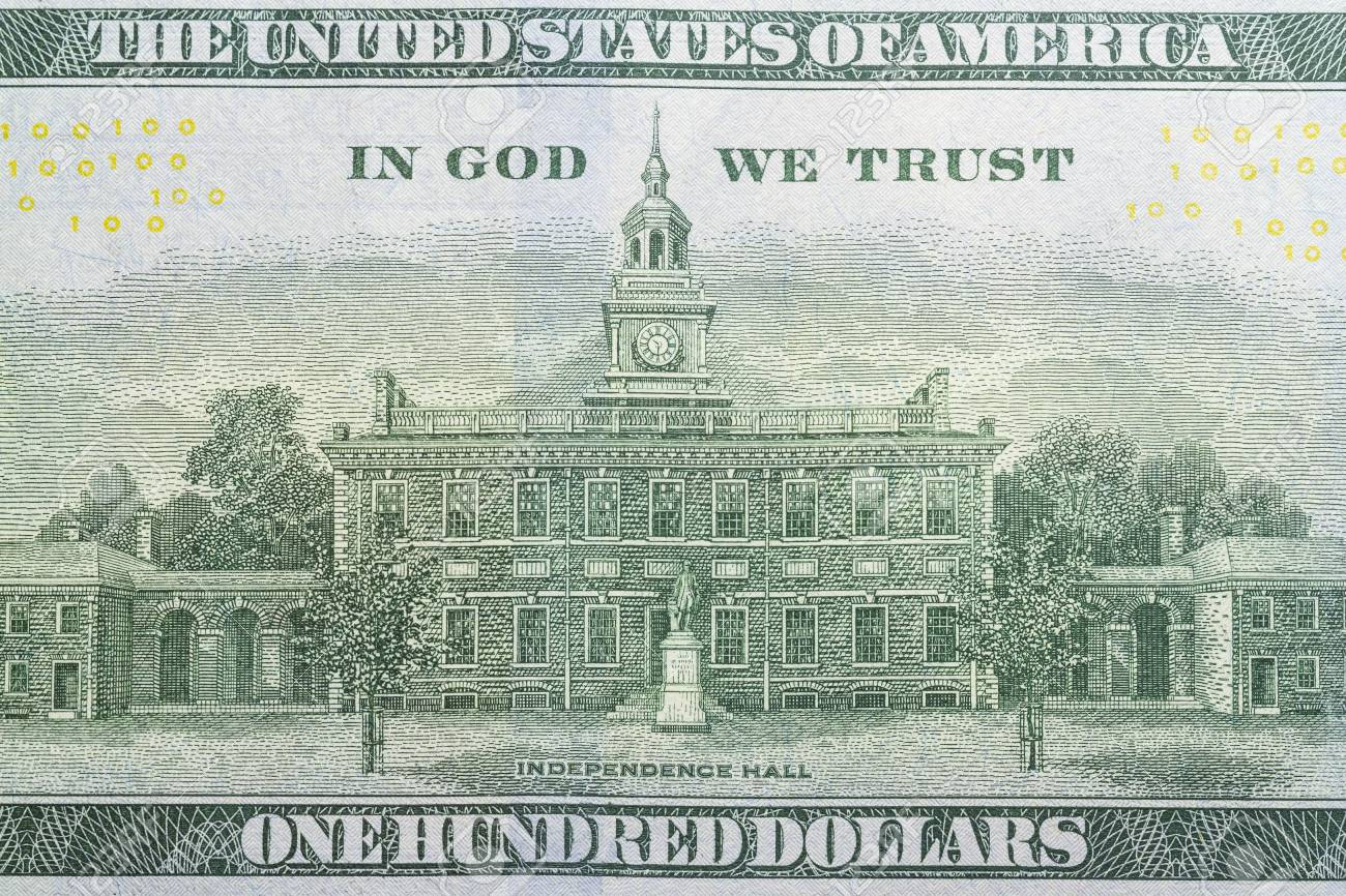 One hundred dollars bill reverse side close up - 110302789