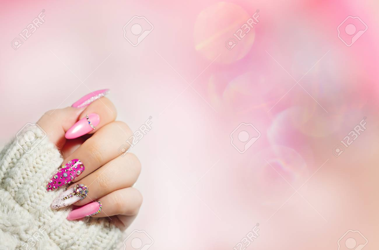 Colorful Nail Art . Manicure. Holiday Style Bright Manicure.. Stock ...