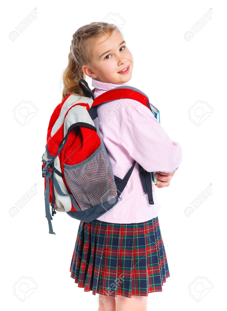 653605cc45a4 little blond school girl with backpack bag