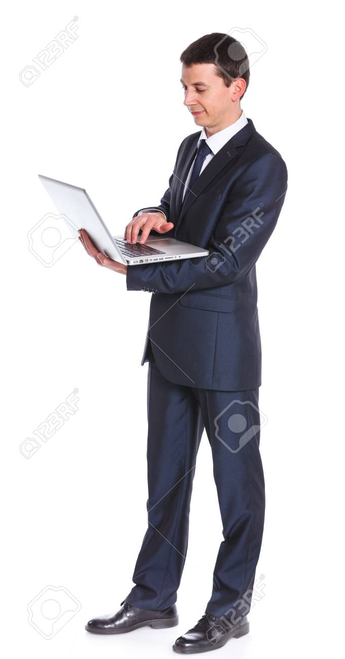 Business man working with a notebook  Isolated white background Stock Photo - 18060148