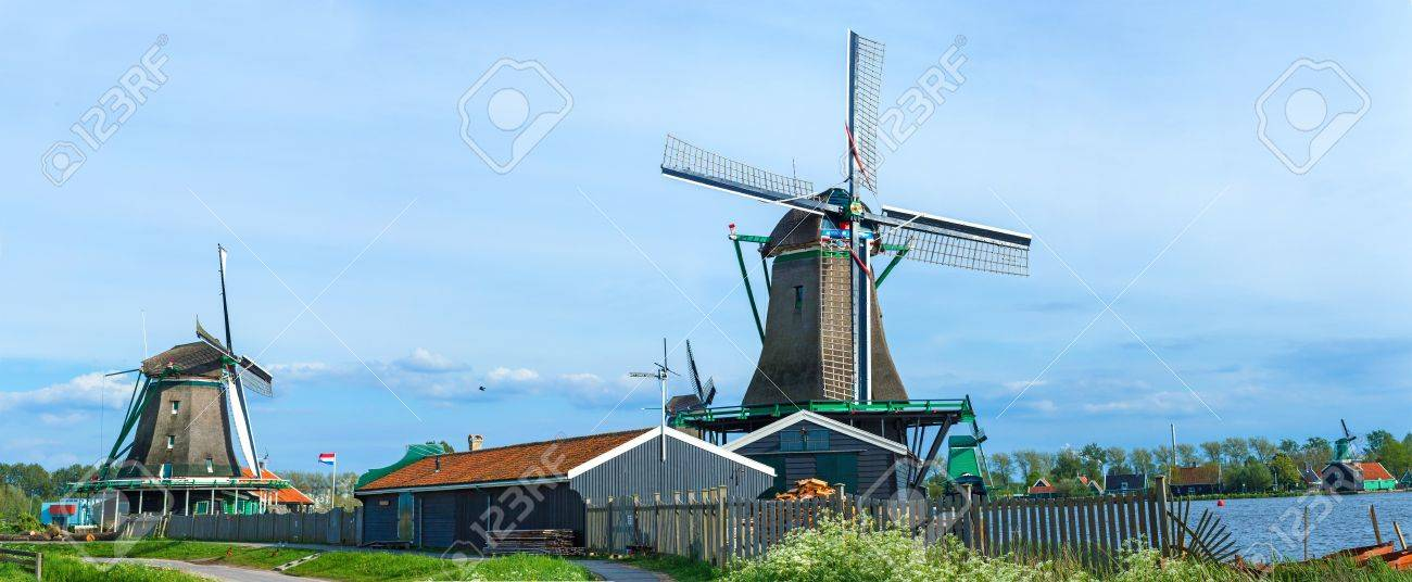 Panorama of famous Zaanse Schans village with windmills located near Amsterdam, Netherlands Stock Photo - 18691077