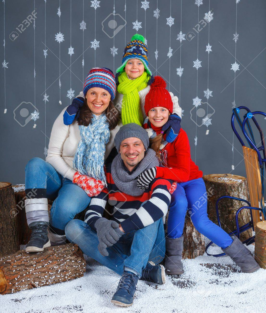 Winter Fashion Happy Family In Winter Hat Gloves And Sweater Stock Photo Picture And Royalty Free Image Image 26104023