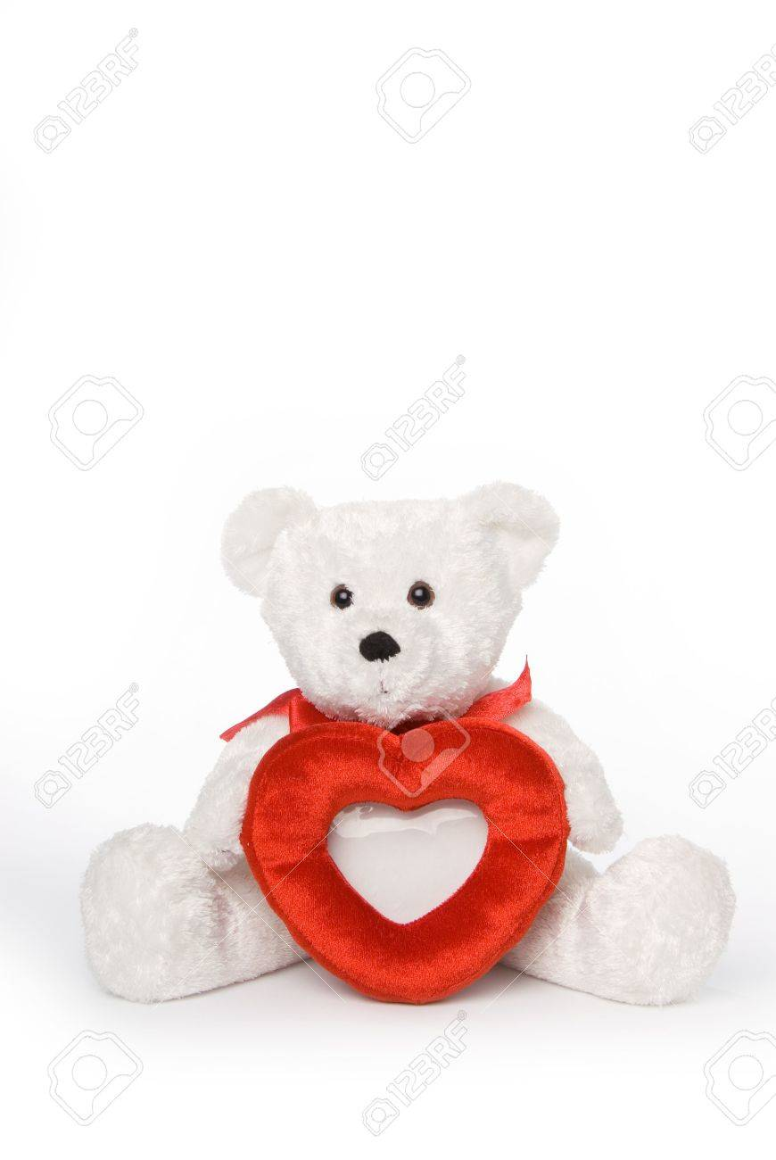 White Teddy Bear Holding Heart Shaped Picture Frame With Room ...