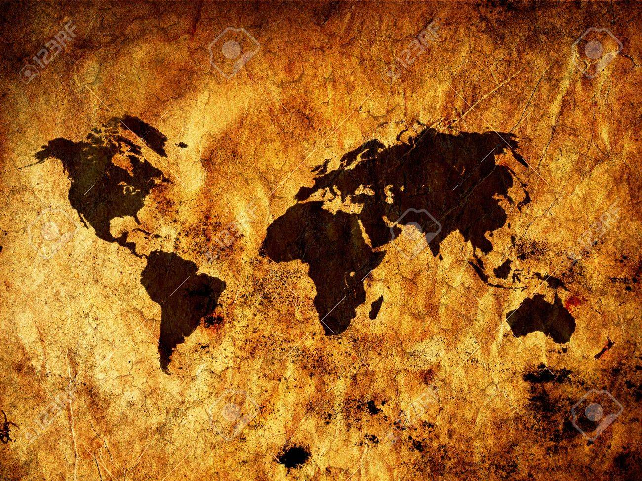Old Vintage World Map All Continents Stock Photo Picture And