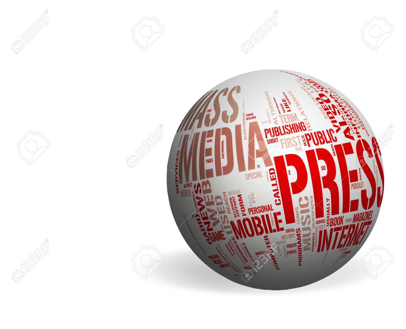Mass Media concepts over a white sphere - Whitespace background Stock Photo - 12410266