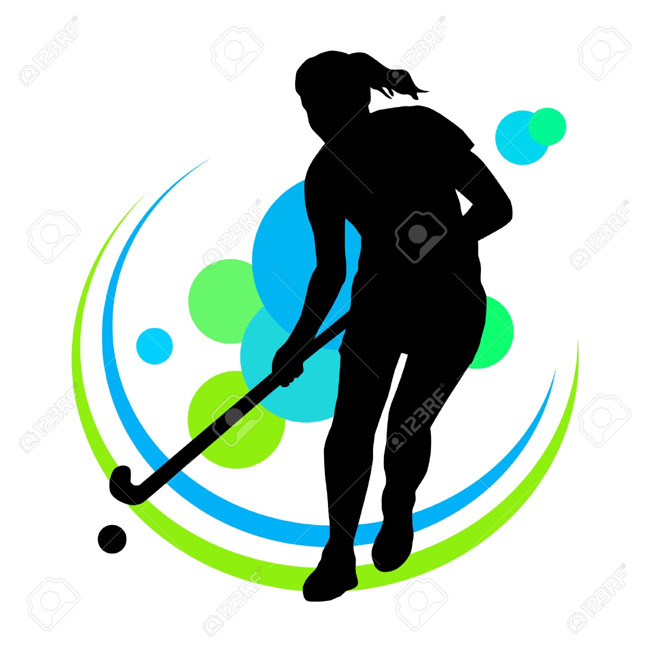 Illustration - field hockey player Stock Vector - 22261580