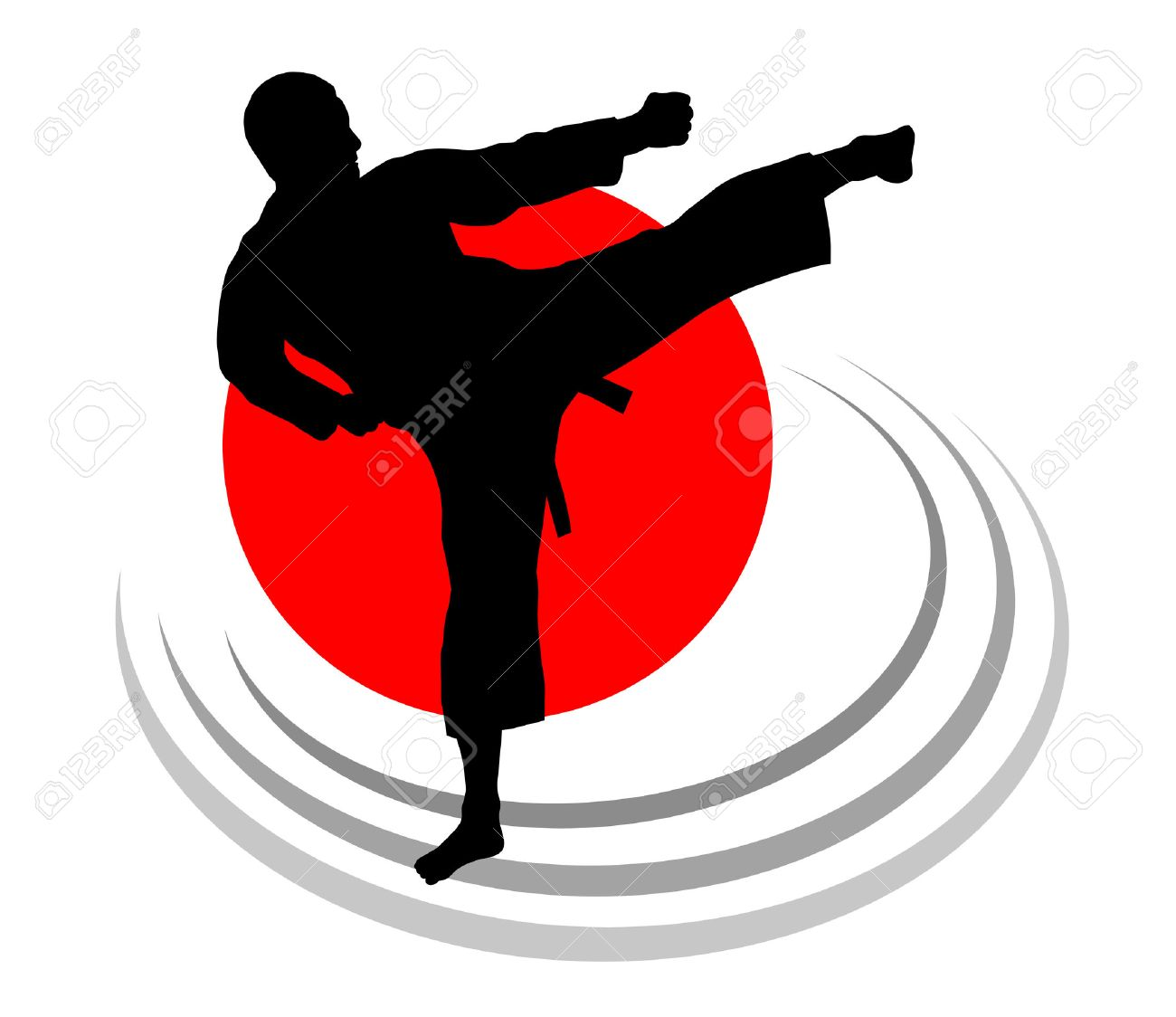 Illustration – karate silhouette with elements - 22865482