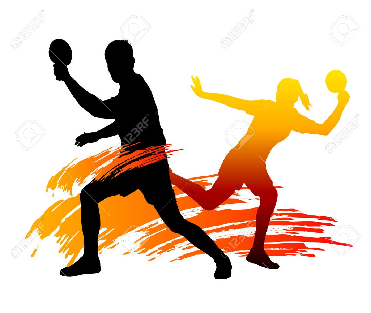 Vector Illustration Of Table Tennis Players Royalty Free Cliparts