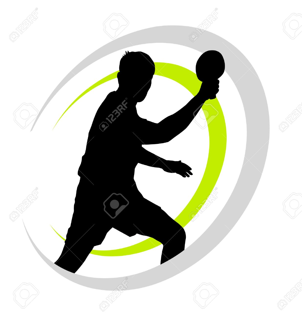 Table Tennis Player Stylized Vector Silhouette Ping Pong Logo