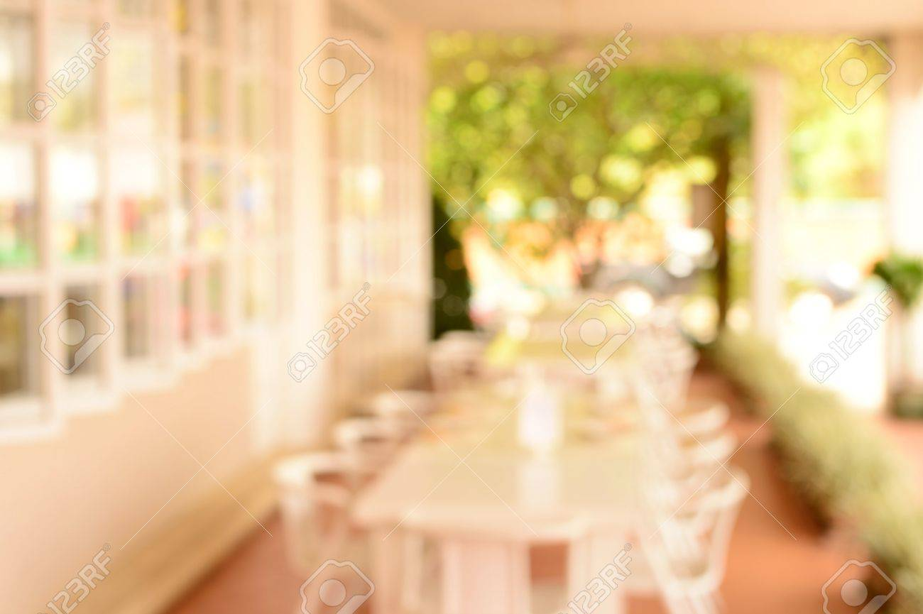 blur white decoration dinner restaurant interior and garden