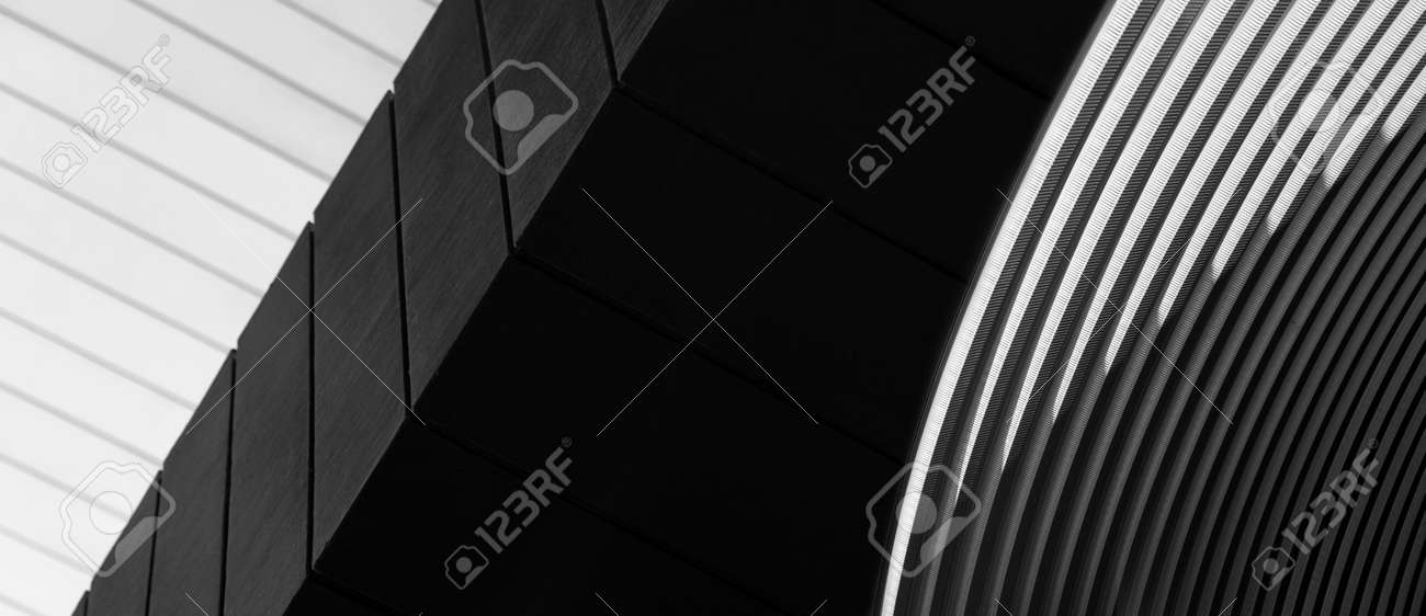 grey white and black line of cement and metal architecture banner background - 172409757