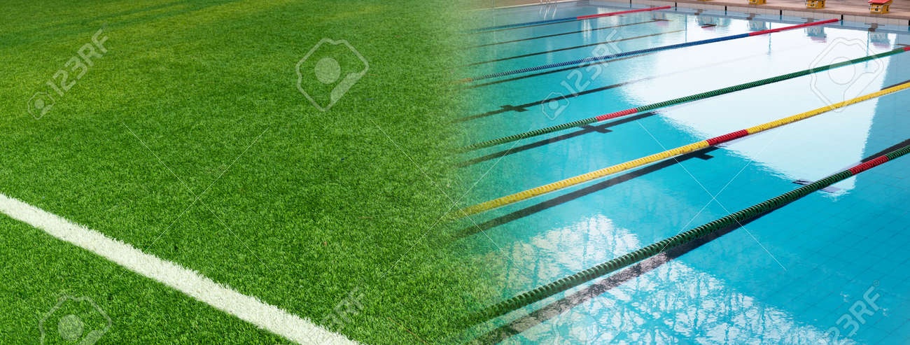 green artificial football field and summer blue swimming pool tract banner background - 172409977