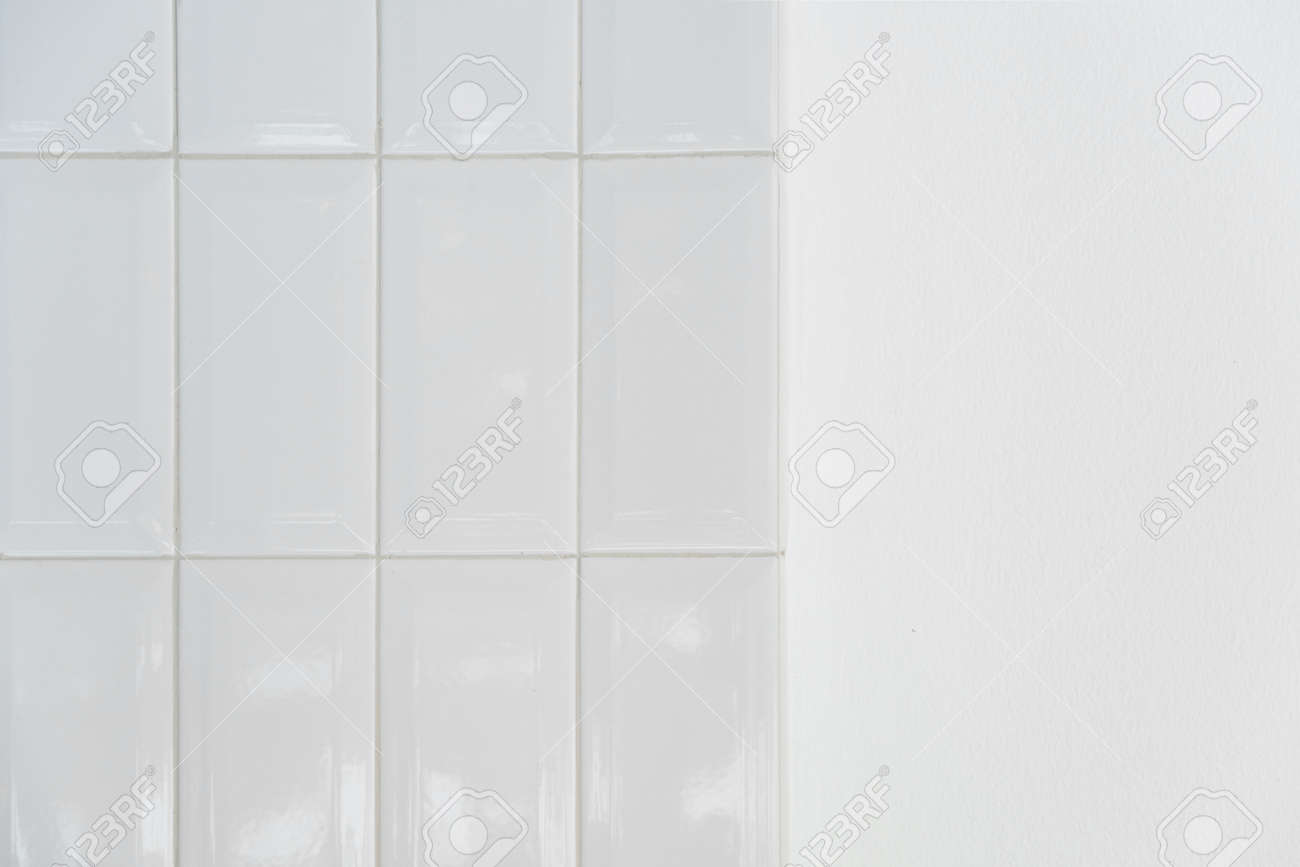 white ceramic tile and cement minimalism wall background - 172410244