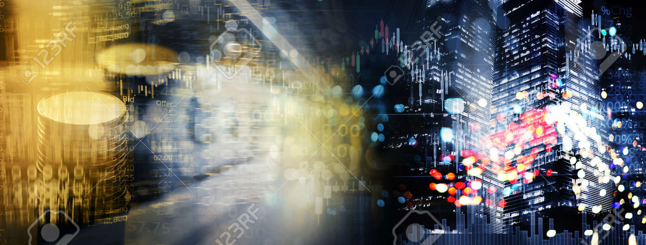 red white city light with coin money stack and stock market graph for finance business on banner background - 172409906