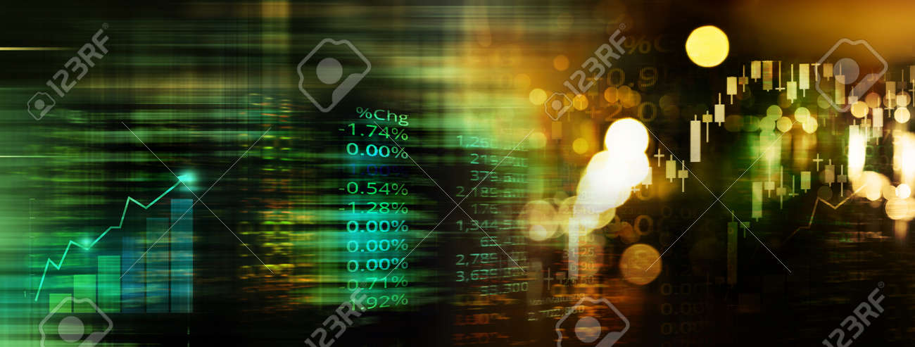 index number of trade stock market and graph on blue and gold blur light wealth banner business abstrack technology background - 173812535