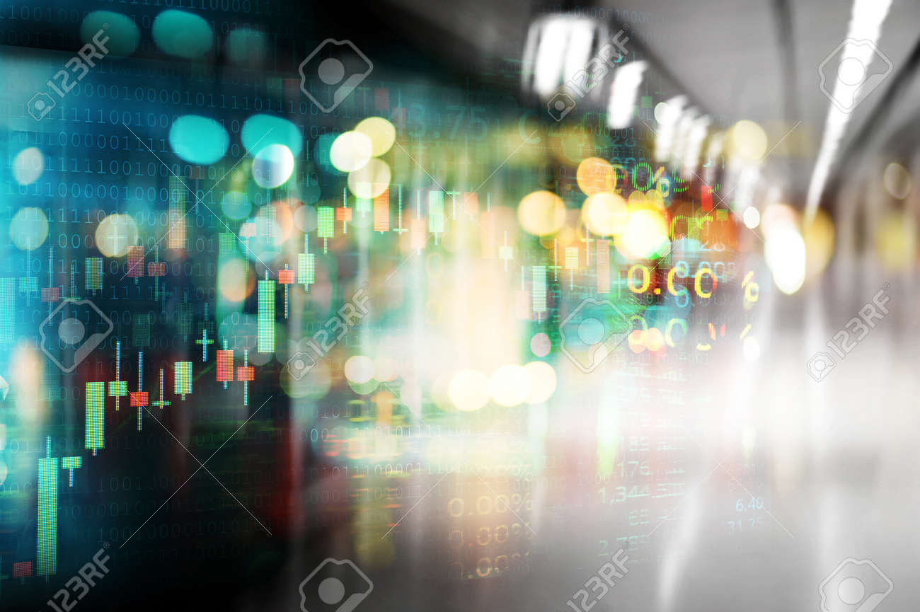 city light and index number and graph of stock market digital business abstract background - 173812554