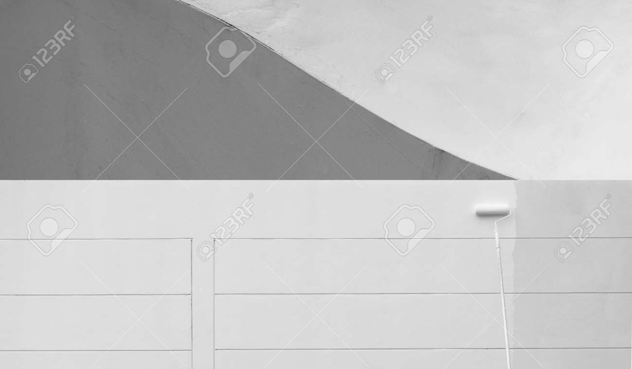 roller painting brush white painting on cement wall with curve grey and white minimalism background - 173812575