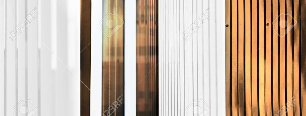 modern white copper golden metal wall architecture banner background - 173780445