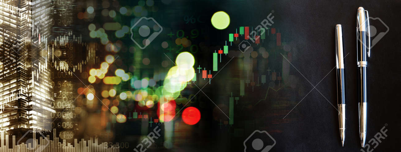 two elegant black pen with blue city street light and index number and graph of stock market business abstract background - 173812618