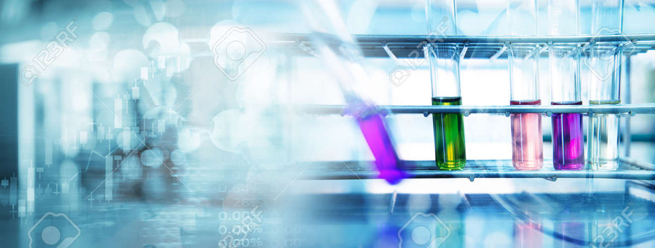 purple green pink solution in test tube at biochemistry blue science lab banner background - 173776986
