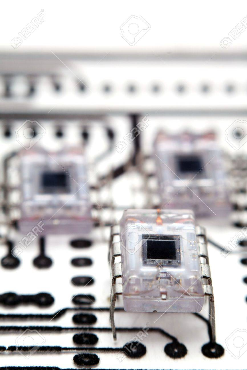 Transparent Integrated Circuits On A Pcb Schematic Used As Circuit Diagram Stock Photo Background