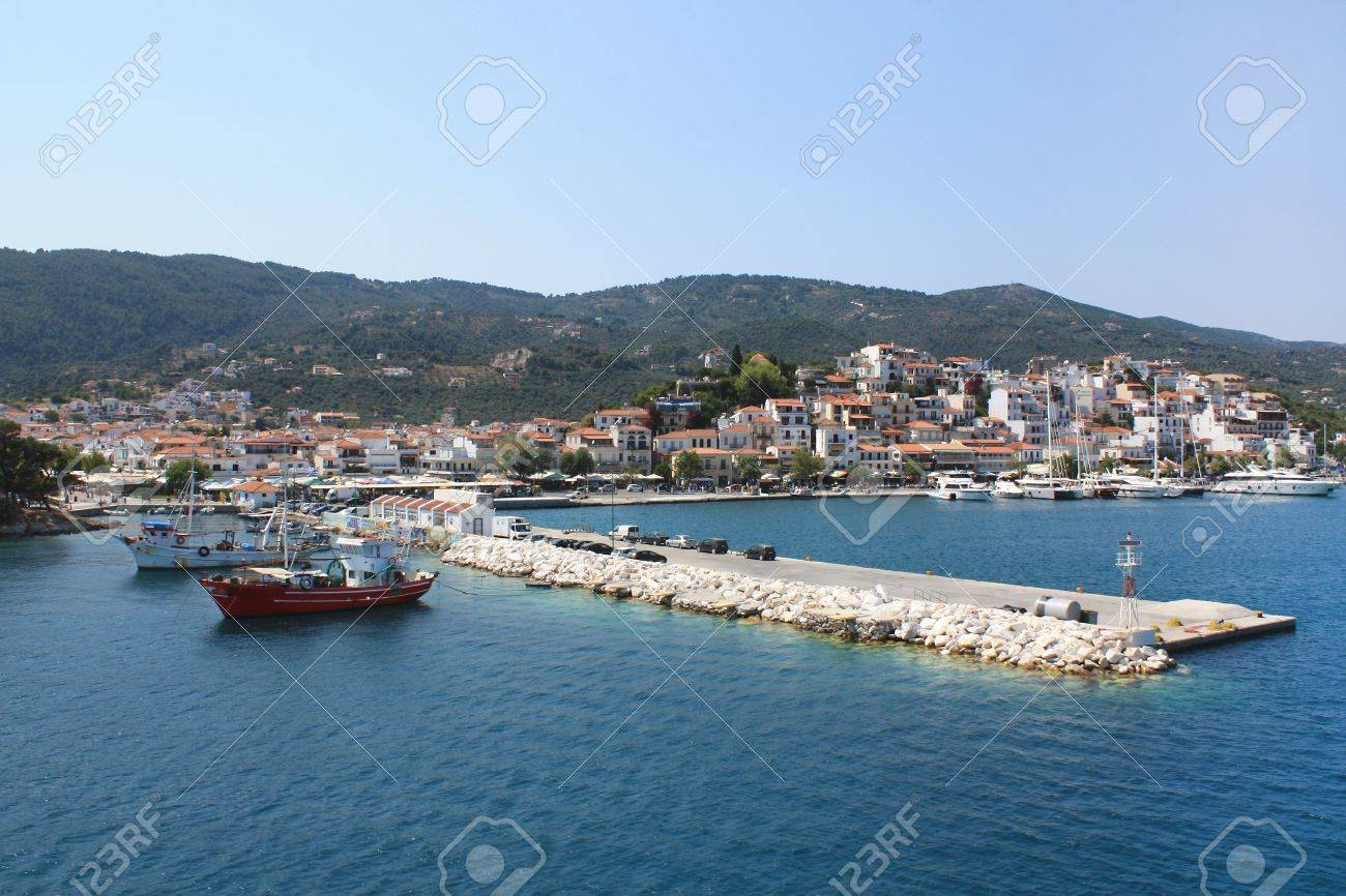 Skiathos island in Greece, view of the port  Village, ships and