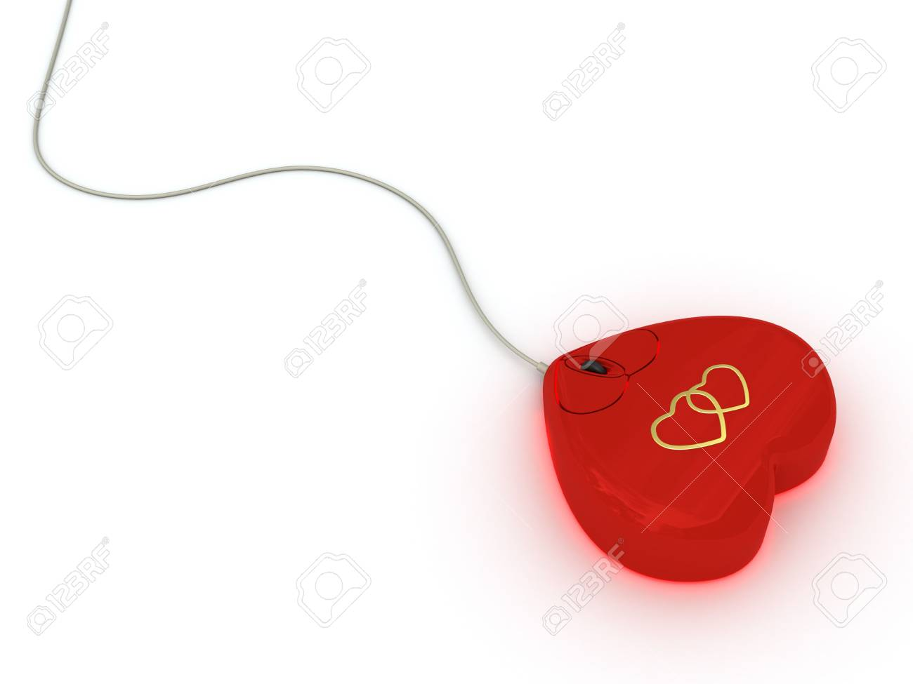 Computer mouse in red heart style on white background. High resolution 3D image Stock Photo - 4701838