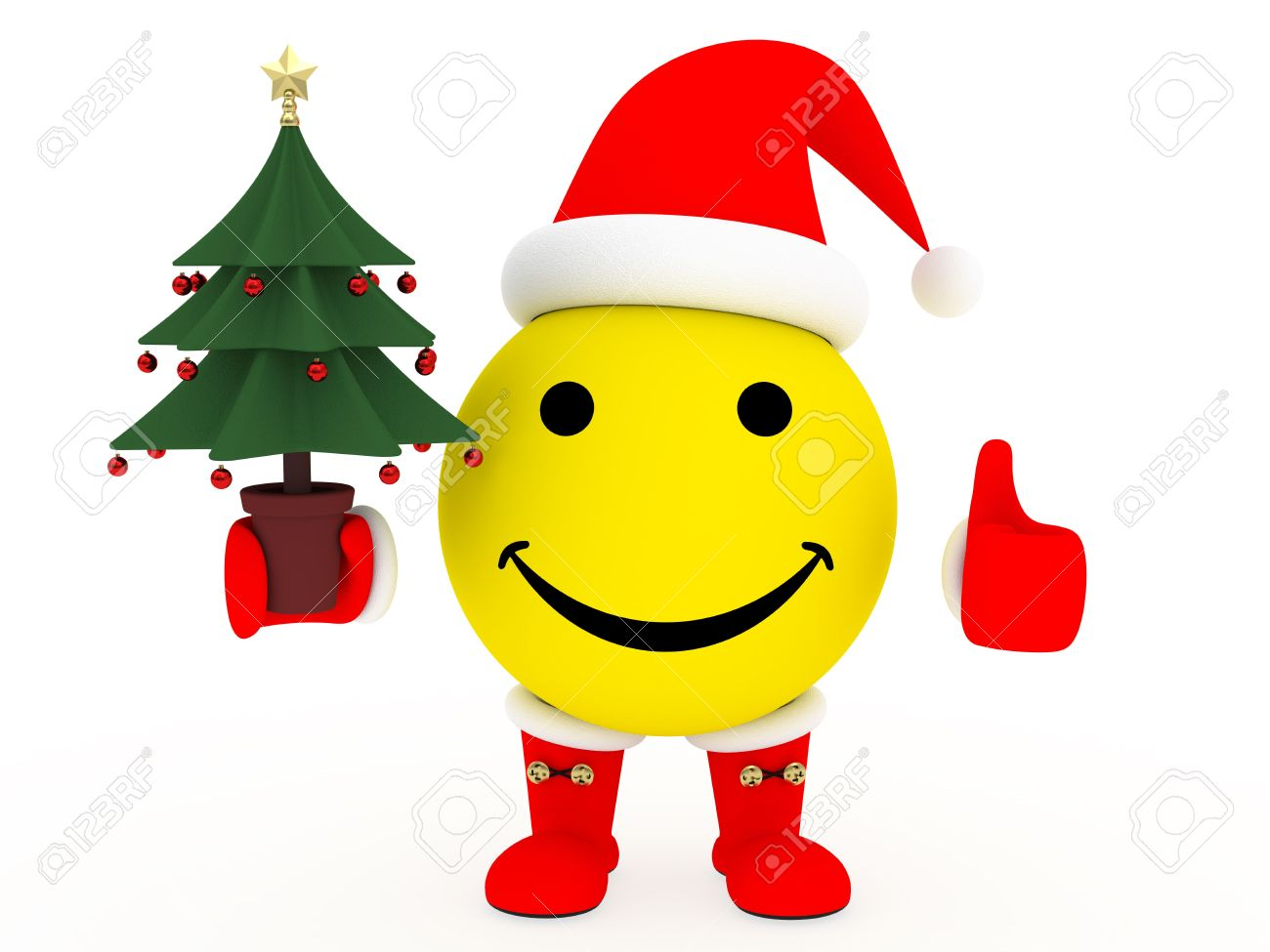 happy face in santa s costume with christmas tree in hand over rh 123rf com Smiley Face Clip Art Snowman happy face christmas clip art