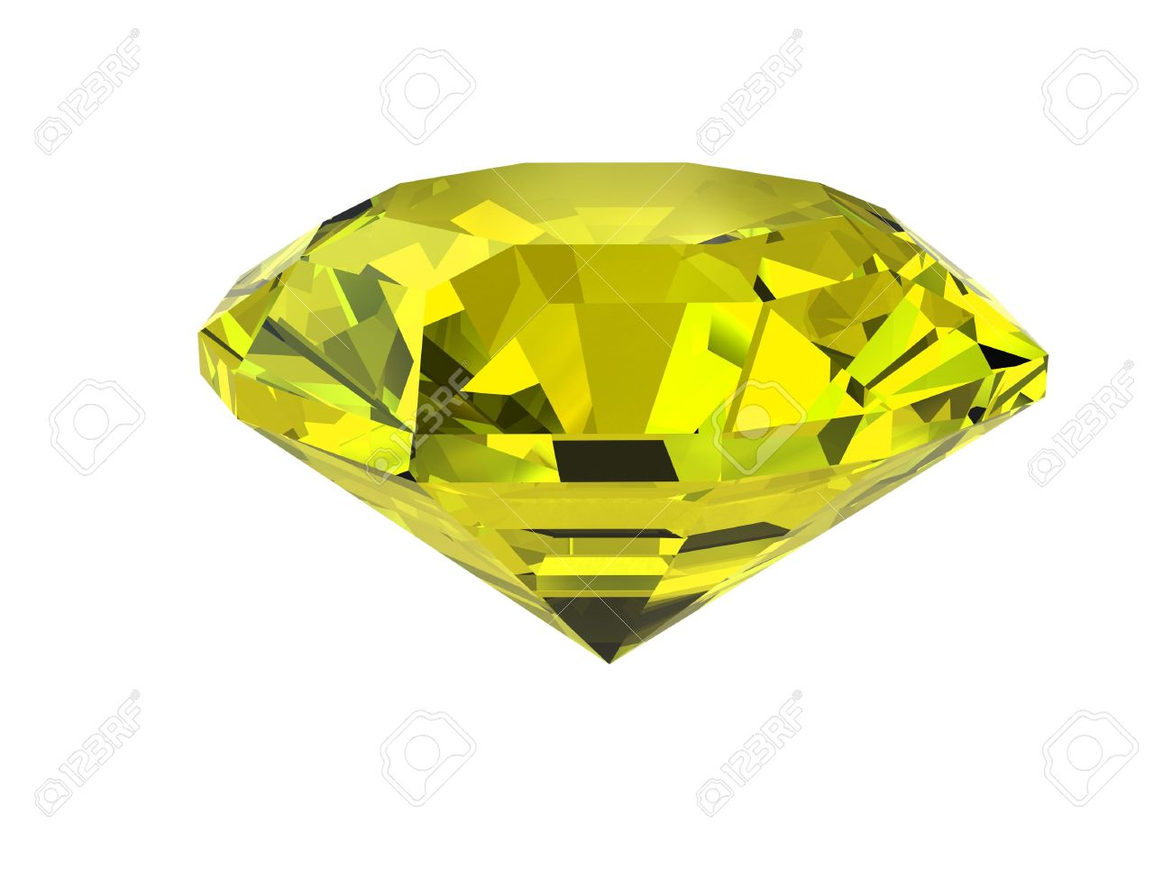 yellow diamond isolated on white background high resolution stock