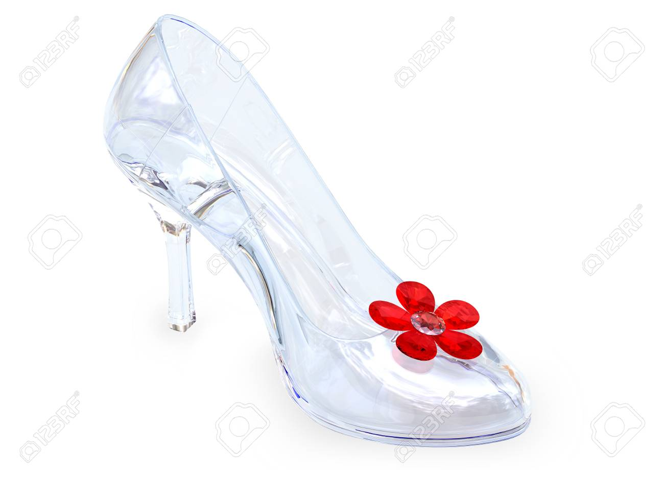 High heel female shoe of crystal glass with red flower on white background. High resolution 3D image Stock Photo - 7393648