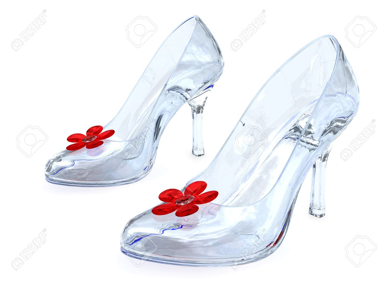 Crystal womens shoes with high heels and red flowers on white crystal womens shoes with high heels and red flowers on white background high resolution 3d mightylinksfo