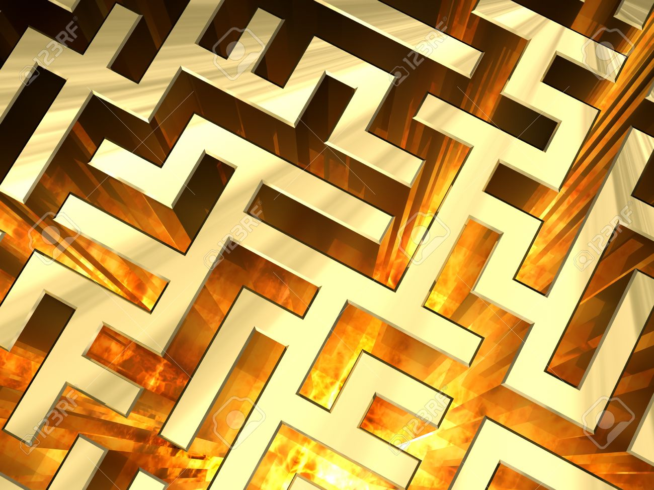 Golden labyrinth with flame. High resolution 3D image Stock Photo - 8870364