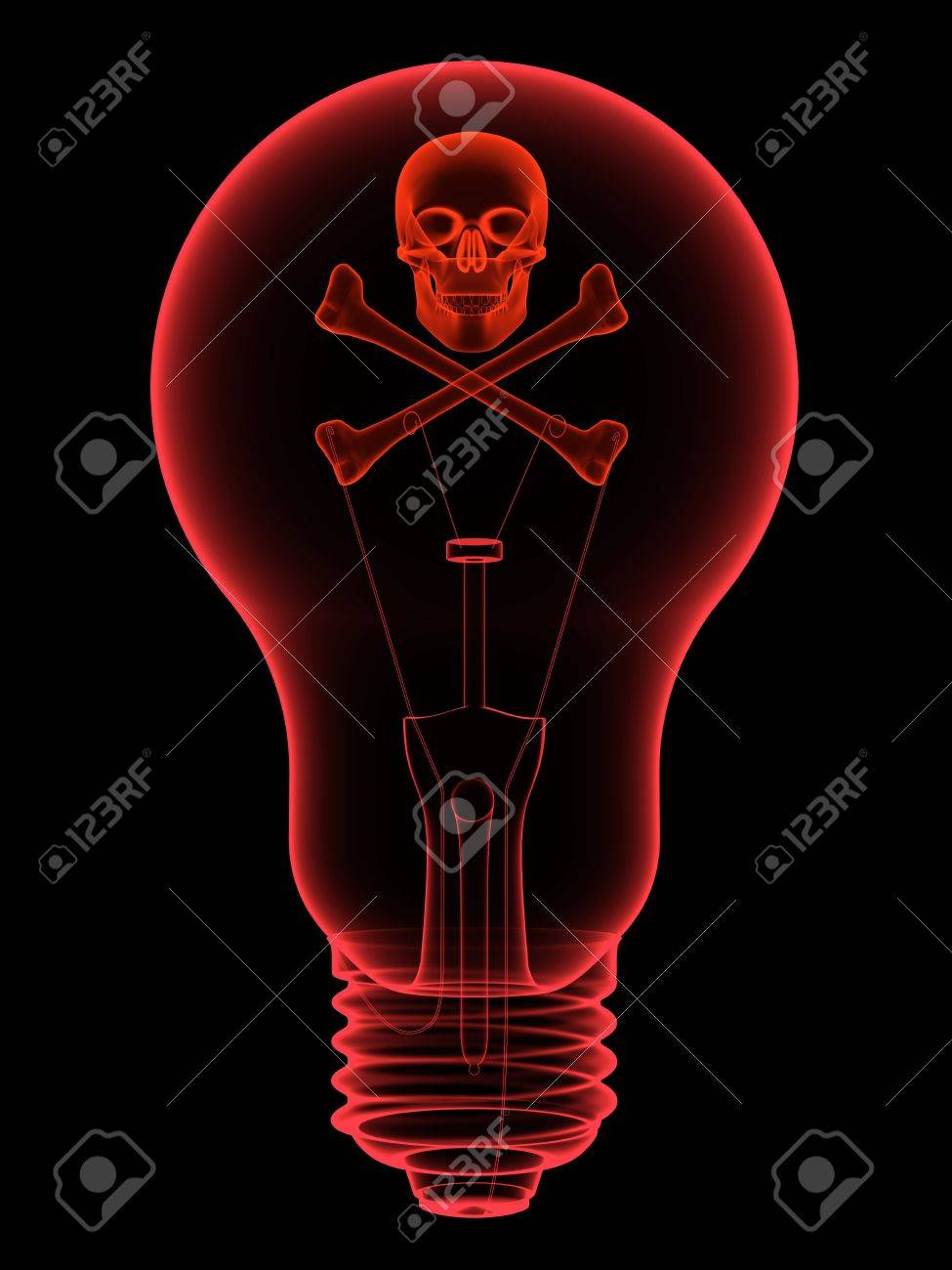 Red lightbulb with skull and crossbones x-ray silhouette on black. High resolution 3D image Stock Photo - 12405032