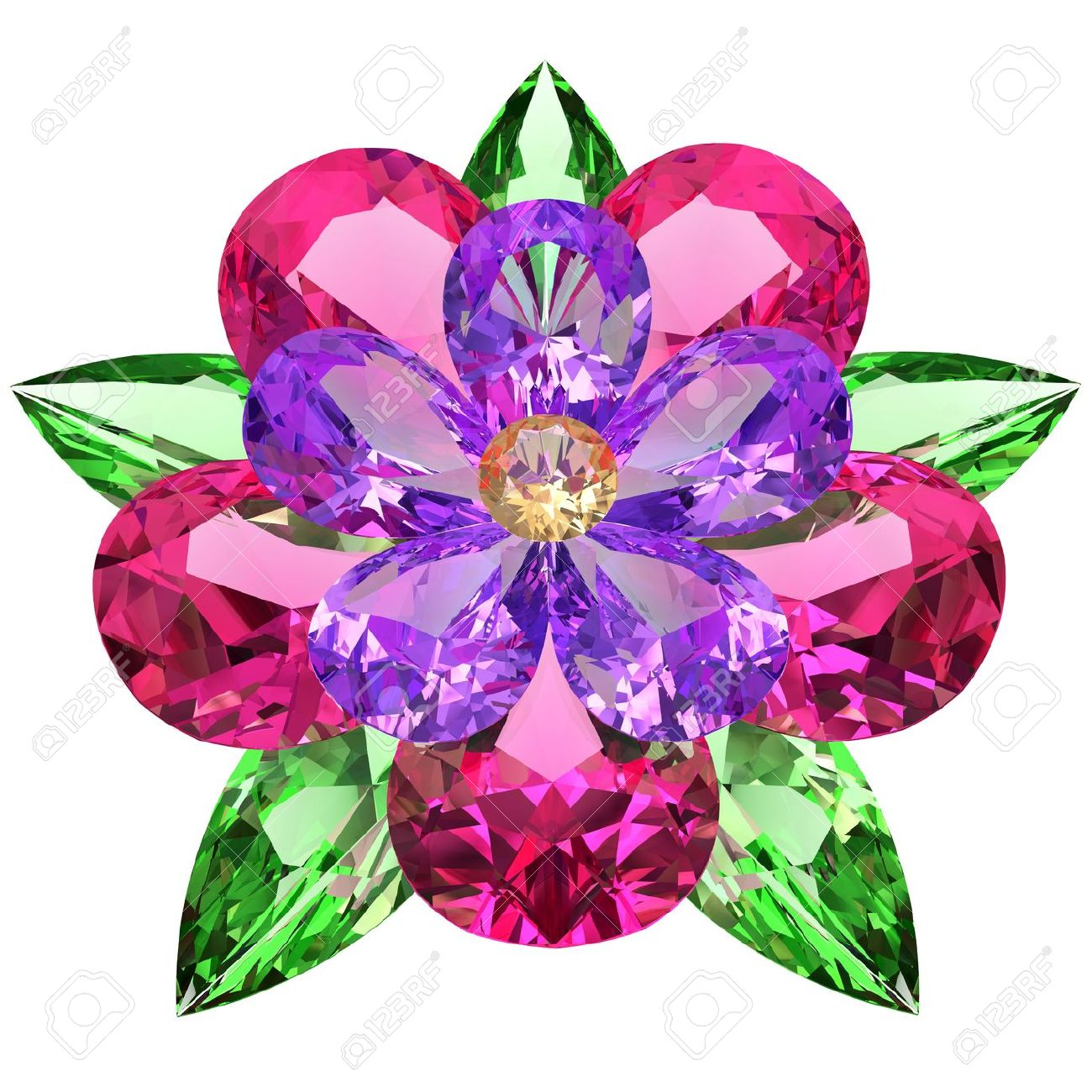 Flower composed of colored gemstones on white background High resolution 3D image - 14508428