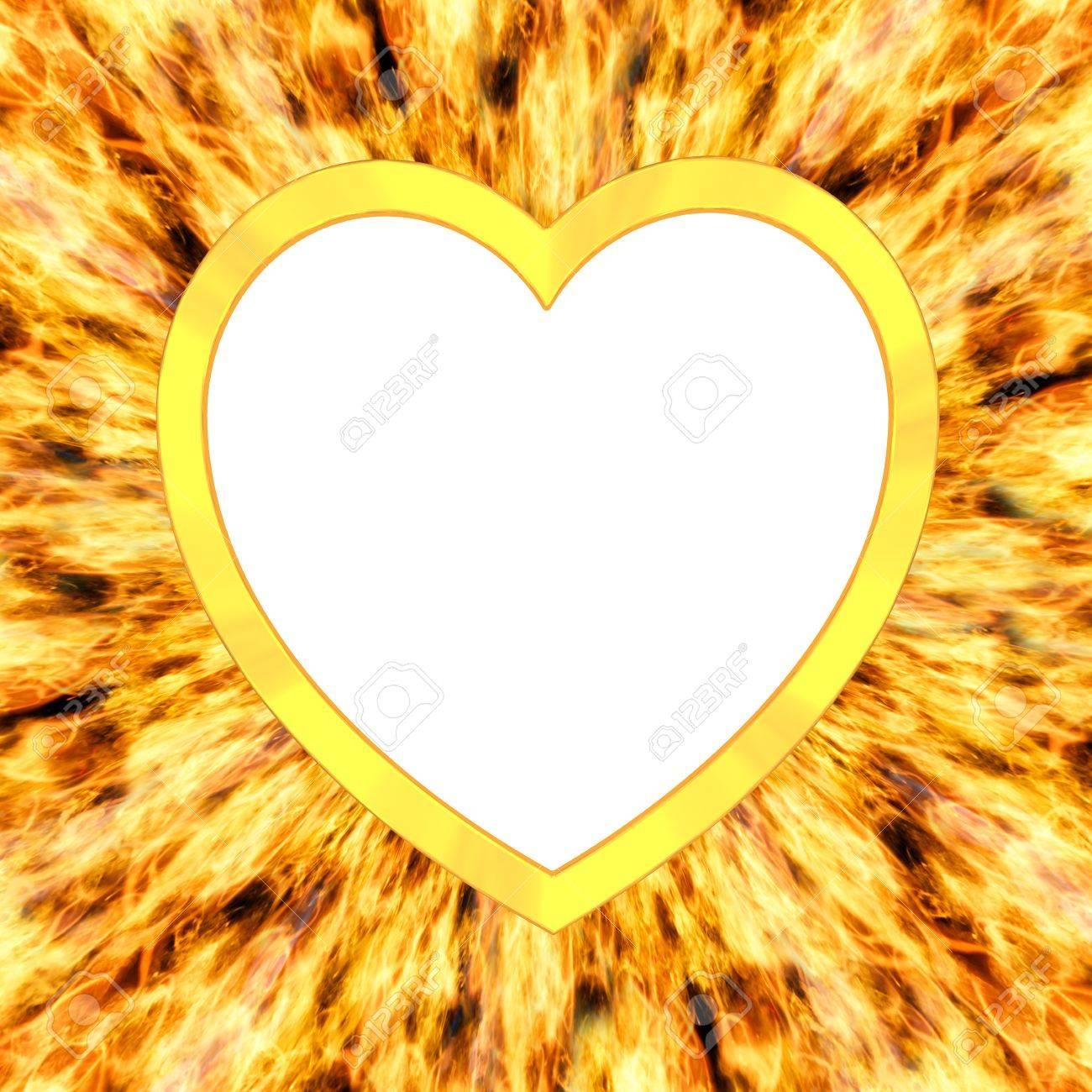 Blank Rahmen In Herzform Auf Flamme Hintergrund Hochauflösende 3D ...