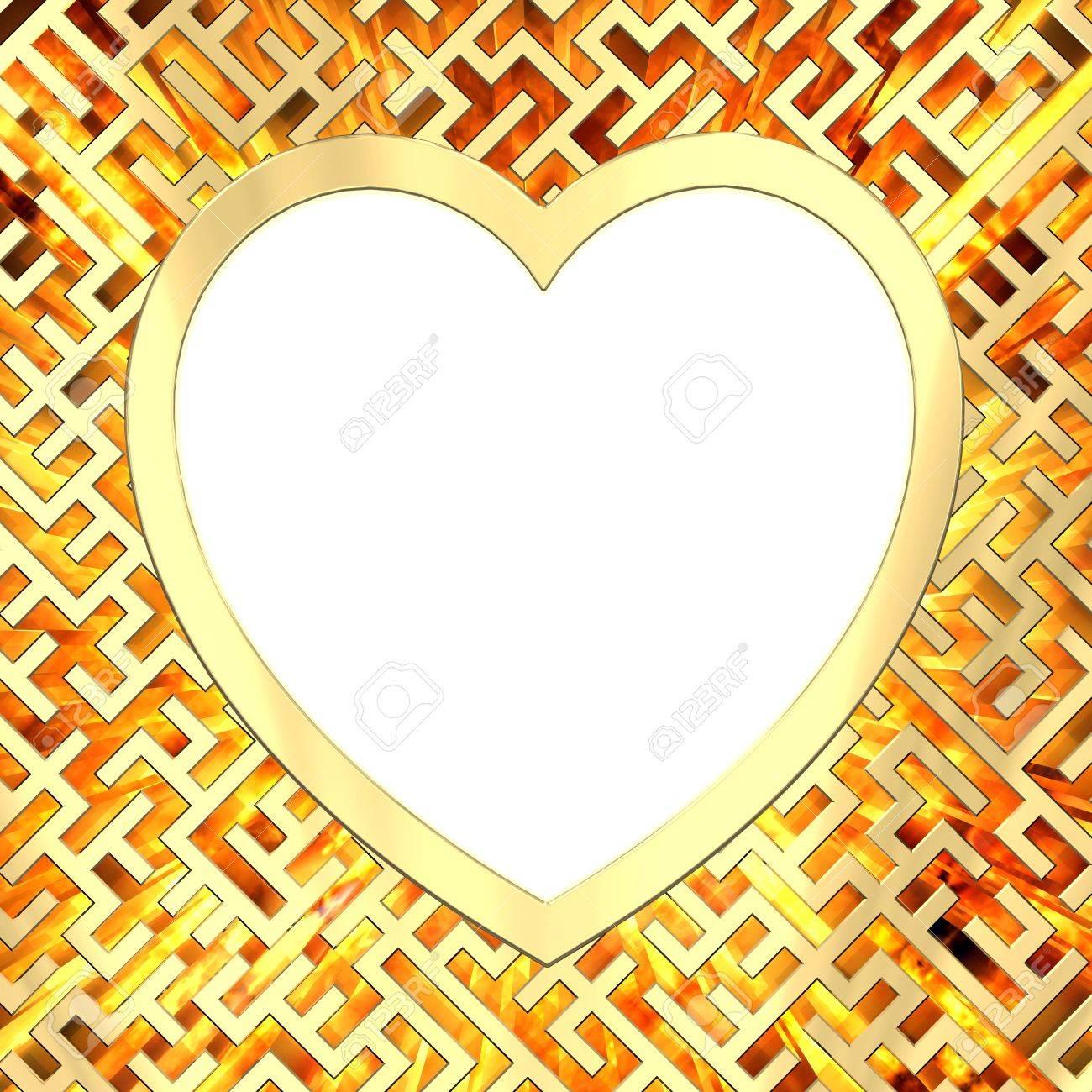Blank Herzförmigen Rahmen Auf Labyrinth Hintergrund Mit Flamme ...