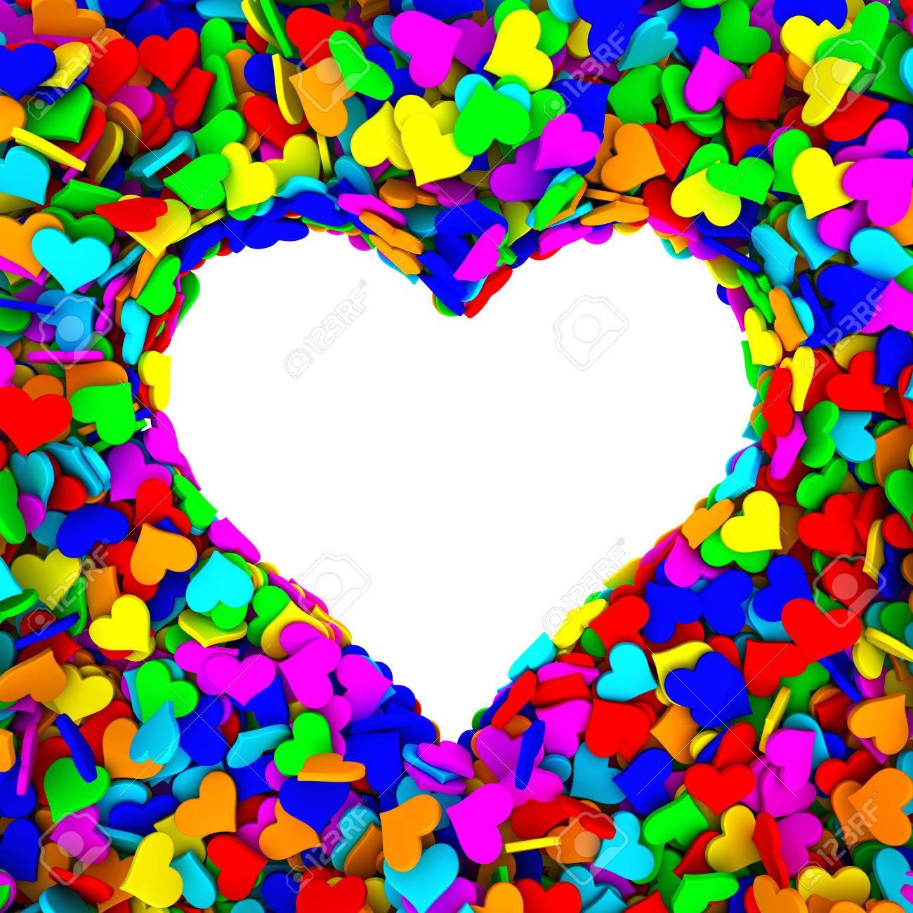 Leere Rahmen Von Herzen Form Aus Vielen Kleinen Bunten Herzen ...