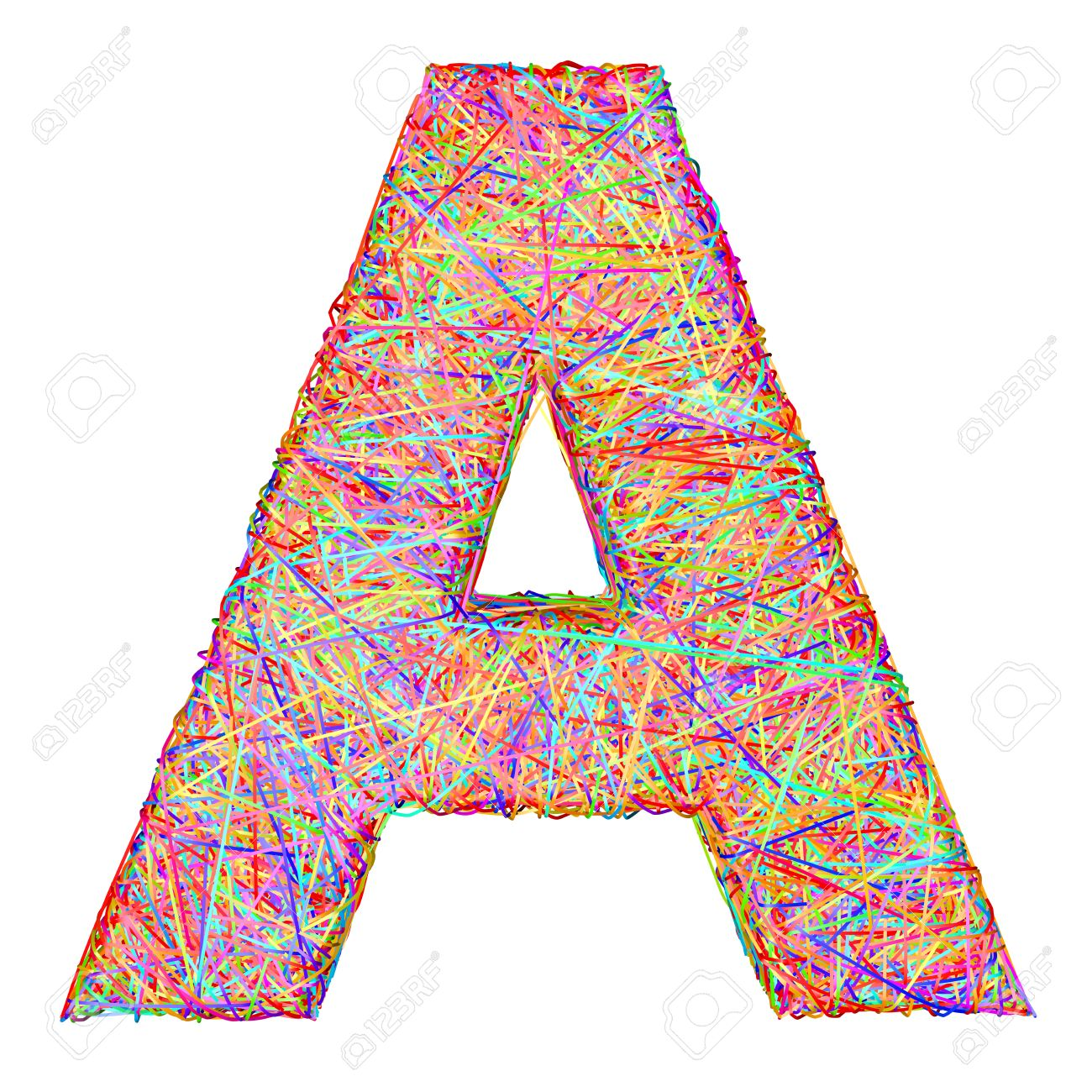 alphabet symbol letter a composed of colorful striplines isolated